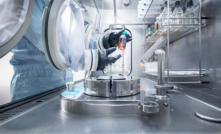 Manipulation of chemicals in a sterile chamber